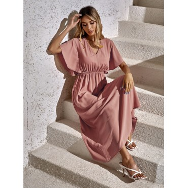 Butterfly Sleeve Solid A-line Dress