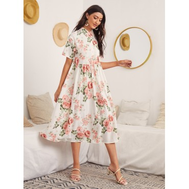Button Front Allover Floral Print Smock Dress