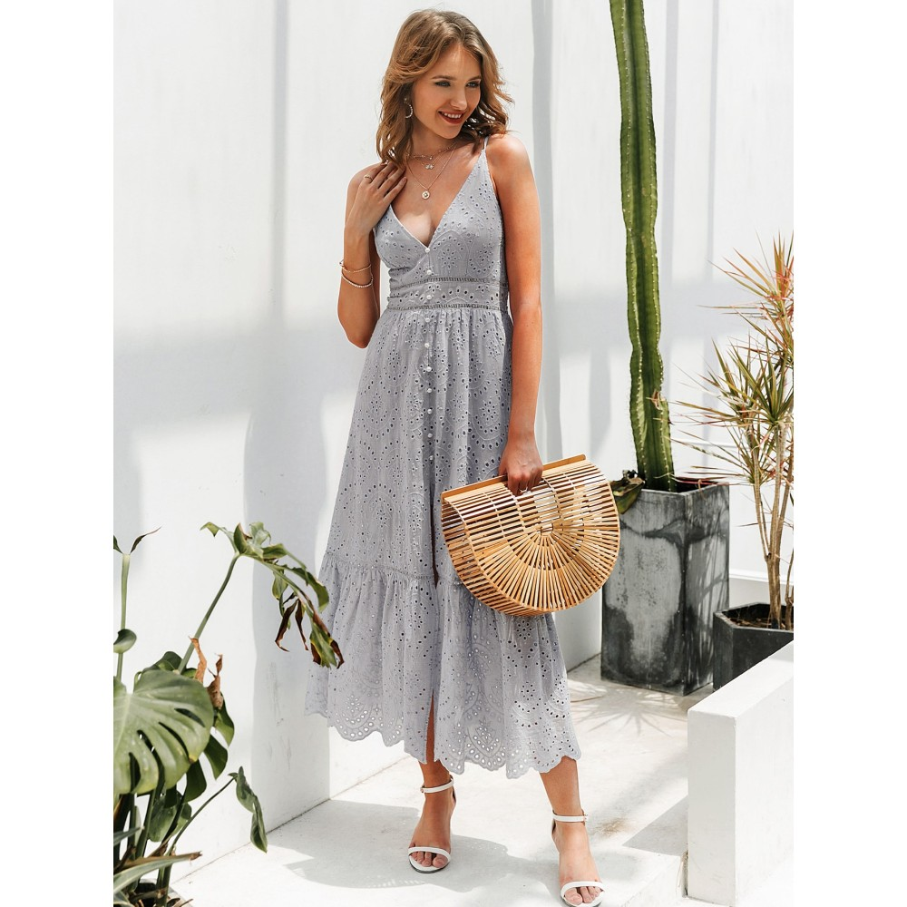Eyelet Lace Insert Button Front Scallop Edge Schiffy Cami Dress