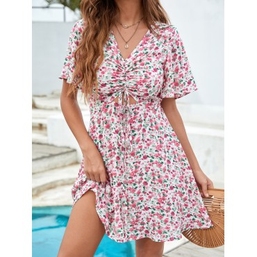 Allover Floral Print Drawstring Ruched Flounce Sleeve Dress