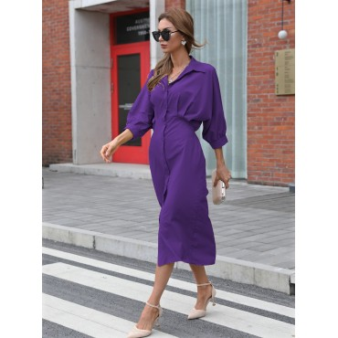 Button Front Batwing Sleeve Dress