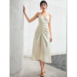 Ruched Front Solid Cami Dress
