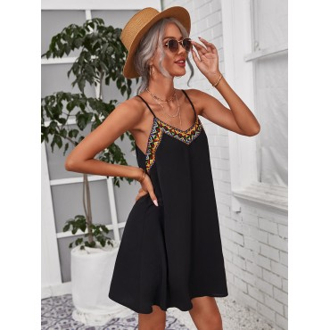 Embroidered Tape Detail Cami Dress